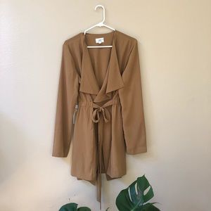 Forever21-Camel woven tie-up coat